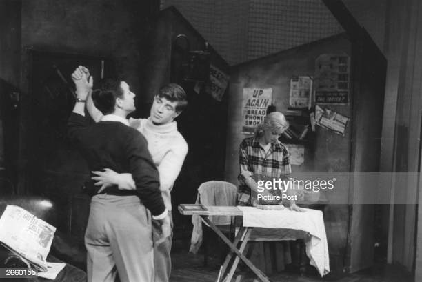 Kenneth Haigh, Alan Bates and Mary Ure at the Royal Court Theatre in London in John Osborne's production of 'Look Back in Anger'. Original...