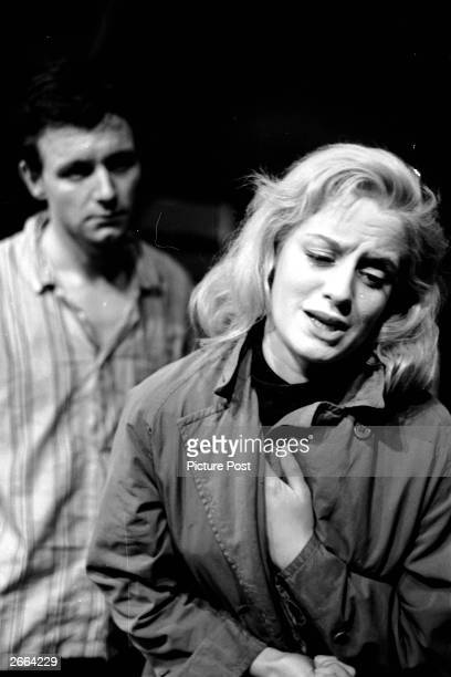 Kenneth Haigh and Mary Ure in the final scene of John Osborne's 'Look Back In Anger' at the Royal Court Theatre, London.Glaswegian actress Mary Ure...
