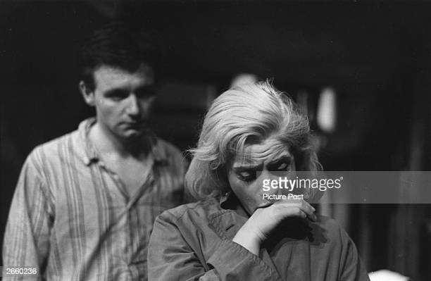Kenneth Haigh and Mary Ure in the final scene of 'Look Back in Anger' at the Royal Court Theatre, London. Original Publication: Picture Post - 8428 -...