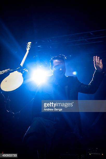 Kenneth Harris of Panic At The Disco performs on stage at Manchester Arena on November 20 2013 in Manchester United Kingdom