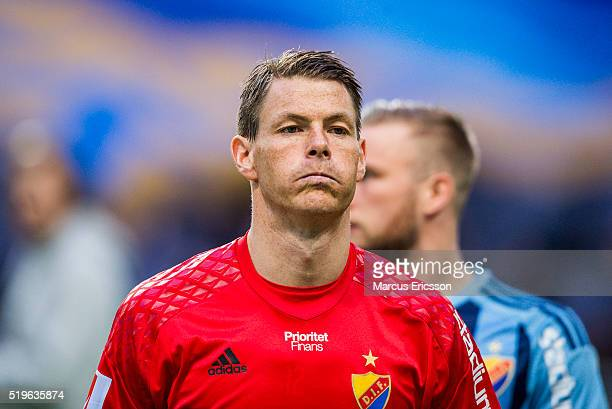 Kenneth Hoie goalkeeper of Djurgarden IF during the Allsvenskan match between Djurgardens IF and Falkenbergs FF at Tele2 Arena on April 7 2016 in...