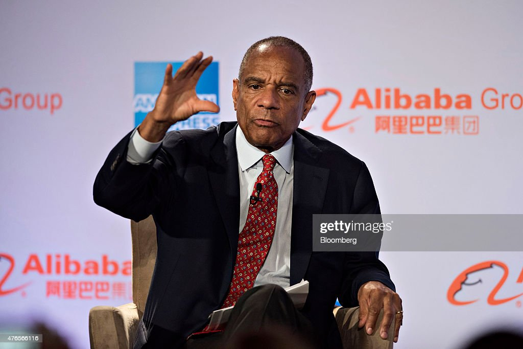 Kenneth 'Ken' Chenault, chairman and chief executive officer of American Express Co., speaks during an event with Billionaire Jack Ma, chairman of Alibaba Group Holding Ltd., not pictured, in Chicago, Illinois, U.S., on Wednesday, June 10, 2015. Alibaba Group Holding Ltd.'s entry into the U.S. runs through small businesses, the same path the online marketplace took in China, Ma said. Photographer: Daniel Acker/Bloomberg via Getty Images