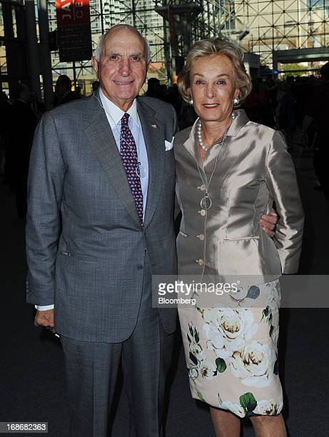 Kenneth Ken Langone cofounder of Home Depot Inc left and wife Elaine Langone attend the Robin Hood Foundation Gala in New York US on Monday May 13...