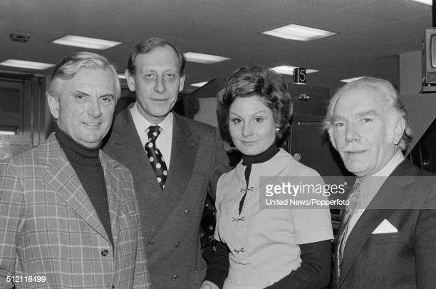 Kenneth Kendall Peter Woods Angela Rippon and news editor Andrew Todd of the BBC news team pictured together in the news room at BBC television...