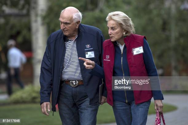 Kenneth Langone cofounder of Home Depot Inc left and his wife Elaine Langone arrive for a morning session during the Allen Co Media and Technology...