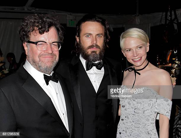 Kenneth Lonergan, Casey Affleck and Michelle Williams attend Amazon Studios Golden Globes Party at The Beverly Hilton Hotel on January 8, 2017 in...