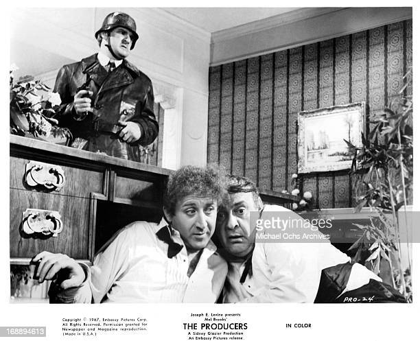 Kenneth Mars looks for Gene Wilder and Zero Mostel in a scene from the film 'The Producers', 1968.