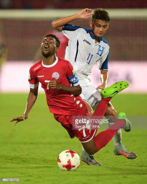 Kenneth Martinez of Honduras and Jekob Jeno of New Caledonia in action during the FIFA U17 World Cup India 2017 group E match between Honduras and...