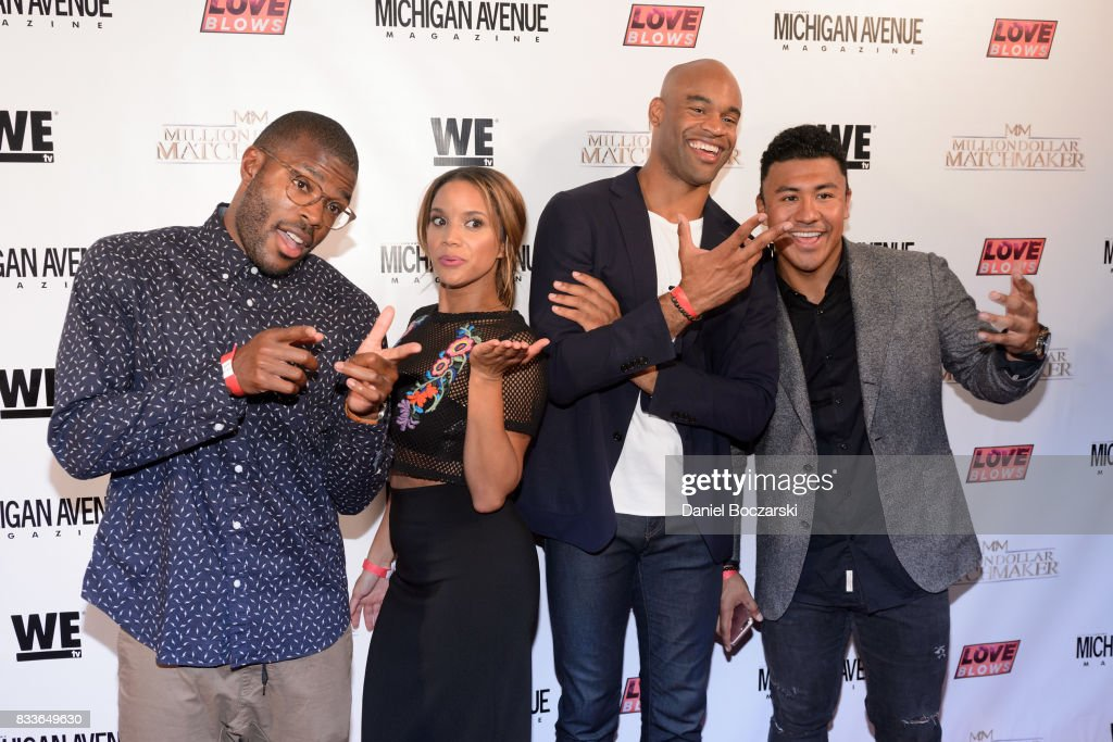 Kenneth Moreland, Amber James, Anthony Battle and Iggy Rodriguez attend WE tv's LOVE BLOWS Premiere Event at Flamingo Rum Club on August 16, 2017 in Chicago, Illinois.