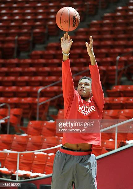 Kenneth Ogbe of the Utah Utes warms up before their game against the Washington State Cougars at the Jon M Huntsman Center on January 21 2015 in Salt...
