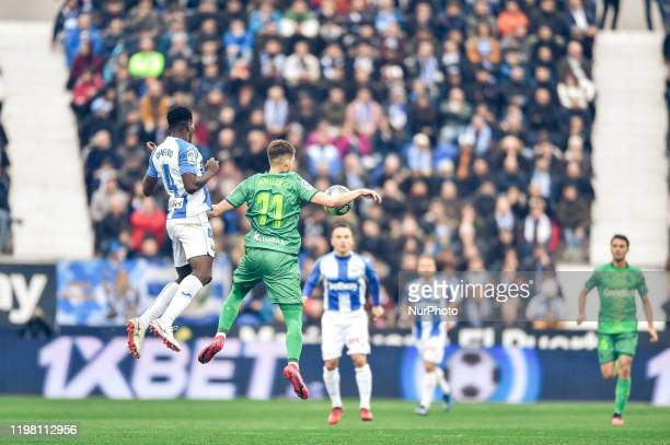 Kenneth Omeruo and Adnan Januzaj during La Liga match between CD Leganes and Real Sociedad at Butarque on February 02 2020 in Leganes Spain
