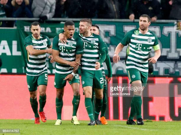 Kenneth Otigba of Ferencvarosi TC celebrates his goal with teammates during the Hungarian OTP Bank Liga match between Ferencvarosi TC and Puskas...