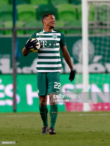 Kenneth Otigba of Ferencvarosi TC reacts during the Hungarian OTP Bank Liga match between Ferencvarosi TC and Videoton FC at Groupama Arena on...