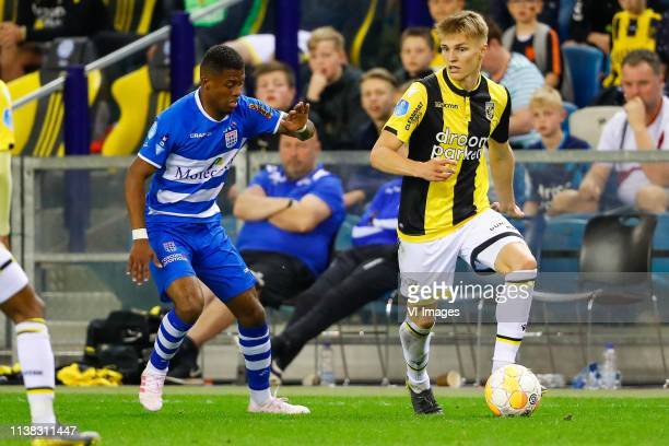 Kenneth Paal of PEC Zwolle Martin Odegaard of Vitesse during the Dutch Eredivisie match between Vitesse Arnhem and PEC Zwolle at Gelredome on April...