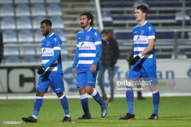 Kenneth Paal of PEC Zwolle , Reza Ghoochannejhad of PEC Zwolle , Thomas Lam of PEC Zwolle during the Dutch Eredivisie match between PEC Zwolle v...