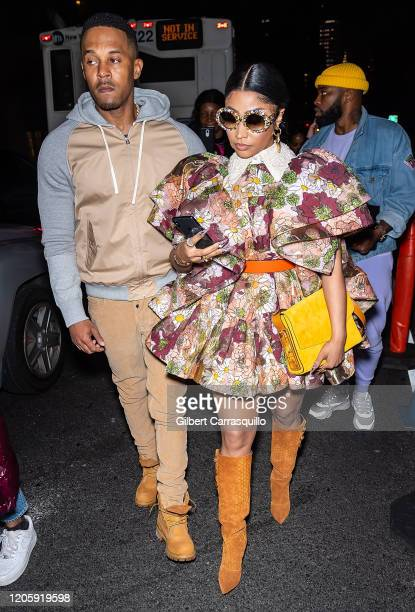 Kenneth Petty and Rapper Nicki Minaj are seen leaving the Marc Jacobs Fall 2020 runway show during New York Fashion Week on February 12 2020 in New...