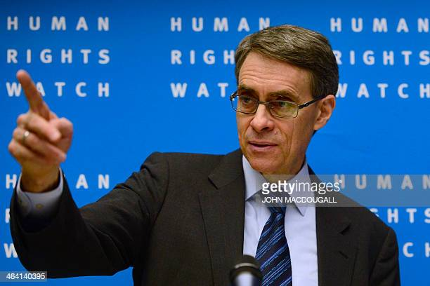 Kenneth Roth executive director of USbased rights group Human Rights Watch speaks during a press conference to release their annual World report on...