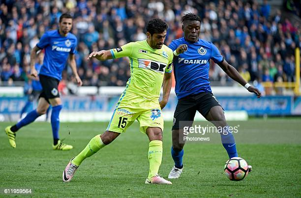 Kenneth Saief midfielder of KAA Gent and Anthony Limbombe forward of Club Brugge pictured during Jupiler Pro League match between Club Brugge KV and...