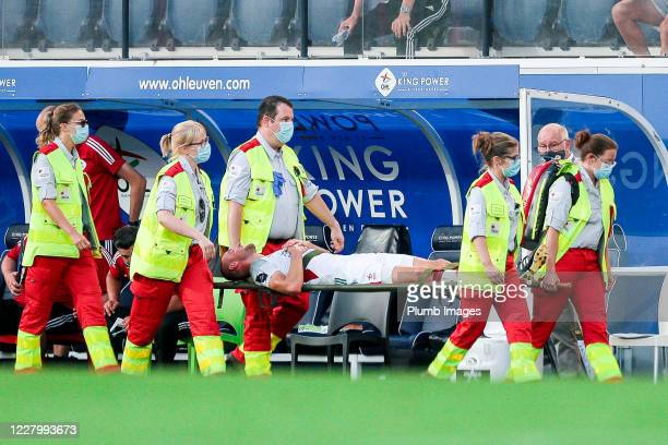 Kenneth Schuermans of OH Leuven suffering an injury during the Jupiler Pro League match between OH Leuven and KAS Eupen at the King Power at Den...