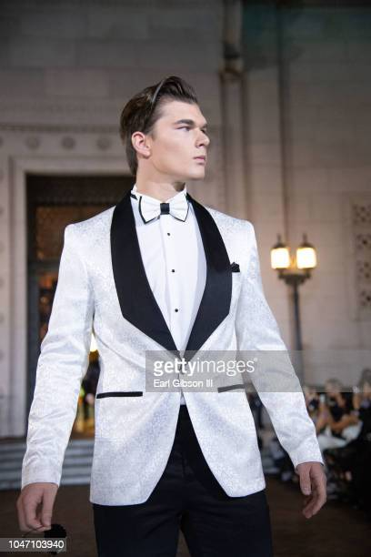 Kenneth Schwartz displays the latest in Spring Fashion at the Metropolitan Fashion Week's Closing Gala And Fashion Awards at Los Angeles City Hall on...