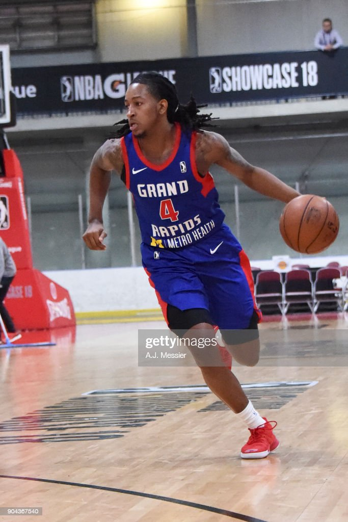 Kenneth Smith #4 of the Grand Rapids Drive handles the ball against the Iowa Wolves NBA G League Showcase Game 20 between the Grand Rapids Drive and the Iowa Wolves on January 12, 2018 at the Hershey Centre in Mississauga, Ontario Canada.