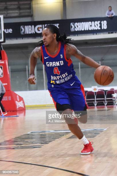 Kenneth Smith of the Grand Rapids Drive handles the ball against the Iowa Wolves NBA G League Showcase Game 20 between the Grand Rapids Drive and the...