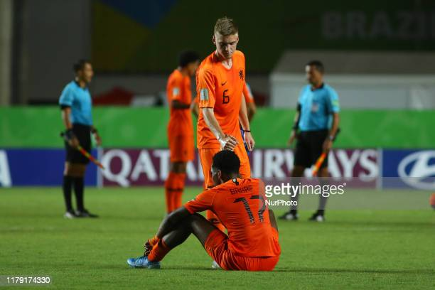 Kenneth Taylor of Netherlands and Jayden Braaf react after Senegal defeat Netherlands 31 in the FIFA U17 World Cup Brazil 2019 group D match at...