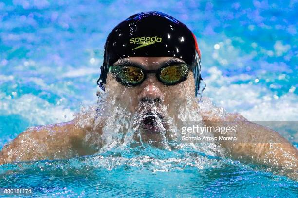 Kenneth To from Hong Kong competes during the Men's 100m Individual Medley heats of the FINA/airweave Swimming World Cup Eindhoven 2017 at Pieter van...