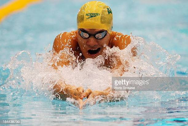 Kenneth To of Australia competes in the men's 100 m individual medley heats during day one of the FINA Swimming World Cup at Eurosportpark on October...