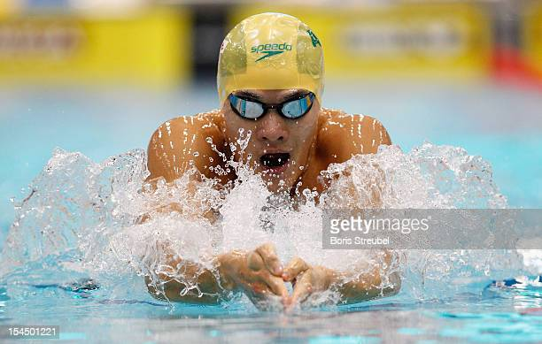 Kenneth To of Australia competes in the men's 200 m individual medley heats during day two of the FINA Swimming World Cup at Eurosportpark on October...
