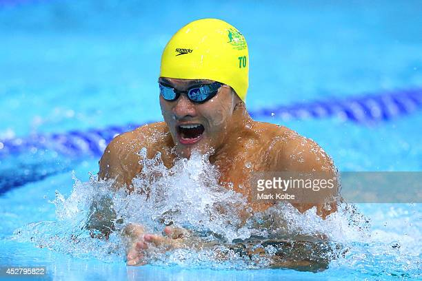 Kenneth To of Australia competes in the Men's 50m Breaststroke Semifinal 1 at Tollcross International Swimming Centre during day four of the Glasgow...