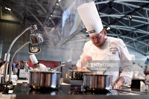 Kenneth ToftHansen of Denmark cooks during the Europe 2018 Bocuse d'Or International culinary competition Best ten teams will access to the world...