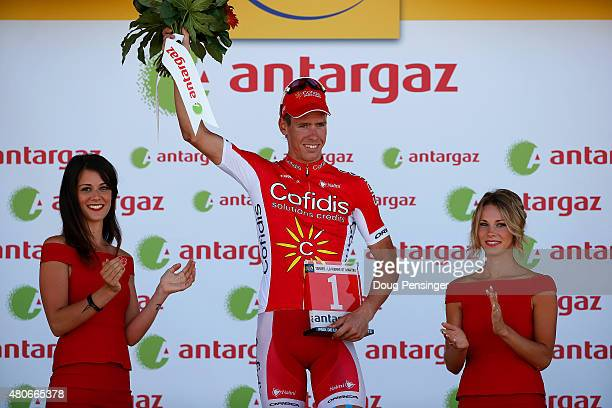 Kenneth Vanbilsen of Belgium and Cofidis, Solutions Credits celebrates after being presented with the award for the most aggressive rider during...