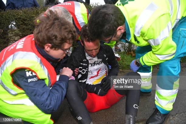 Kenneth Vanbilsen of Belgium and Team Cofidis Solutions Credits / Crash / Injury / Medical / Doctor / during the 75th Omloop Het Nieuwsblad 2020, Men...