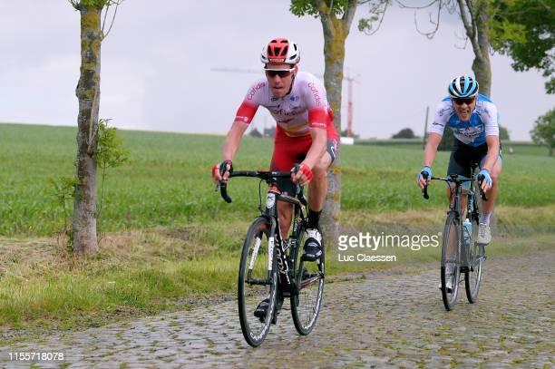 Kenneth Vanbilsen of Belgiume and Team Cofidis Solutions Credits / Matthias Brandle of Austria and Team Israel Cycling Academy / Cobblestones /...