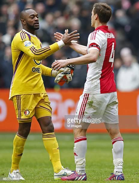 Kenneth Vermeer of Feyenoord Niklas Moisander of Ajax during the Dutch Eredivisie match between Ajax and Feyenoord on january 25 2015 in Amsterdam...