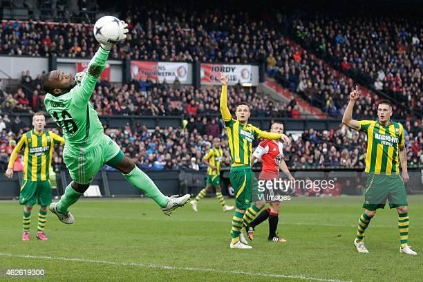 Kenneth Vermeer of Feyenoord Timothy Derijck of ADO Den Haag Vito Wormgoor of ADO Den Haag during the Dutch Eredivisie match between Feyenoord and...