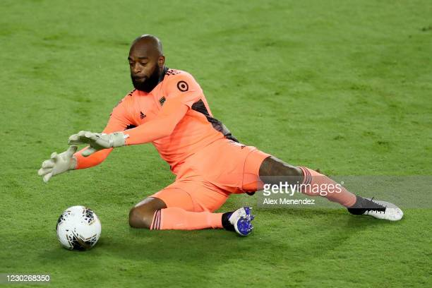 Kenneth Vermeer of Los Angeles FC makes a save during the CONCACAF Champions League final game against Tigres UANL at Exploria Stadium on December...