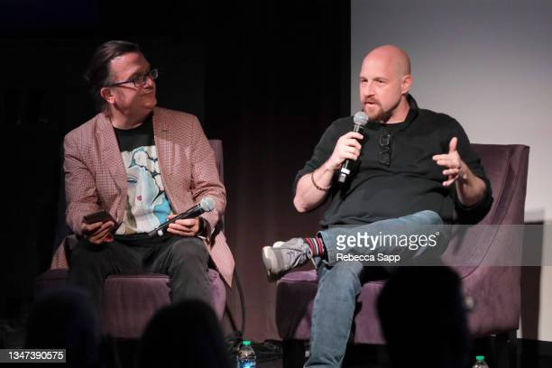 Kenneth Womack and Jason Kruppa speak onstage at All Things Must Pass Away: Harrison, Clapton, and Other Assorted Love Songs at The GRAMMY Museum on...