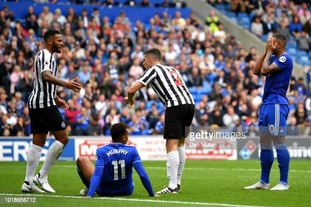 Kenneth Zohore and Josh Murphy of Cardiff City react as Jamaal Lascelles and Ciaran Clark of Newcastle United look on during the Premier League match...