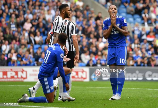 Kenneth Zohore and Josh Murphy of Cardiff City react as Jamaal Lascelles of Newcastle United looks on during the Premier League match between Cardiff...
