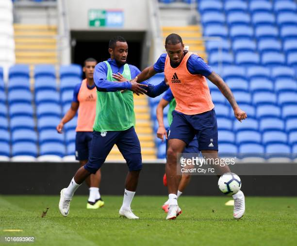 Kenneth Zohore and Loic Damour during the Cardiff City training session at the City of Cardiff Stadium on August 14 2018 in Cardiff Wales