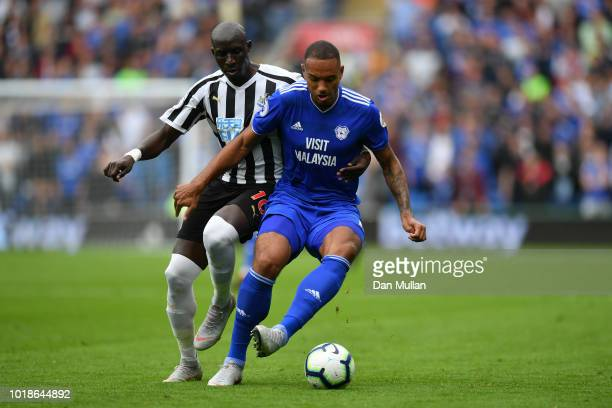 Kenneth Zohore of Cardiff City battles for possession with Mohamed Diame of Newcastle United during the Premier League match between Cardiff City and...