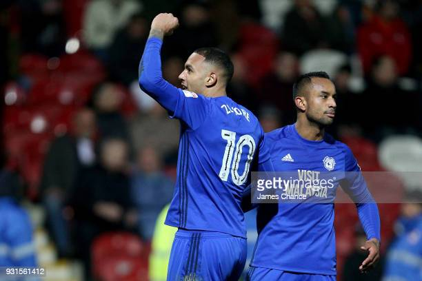 Kenneth Zohore of Cardiff City celebrates after scoring his sides third goal with Loic Damour of Cardiff City during the Sky Bet Championship match...