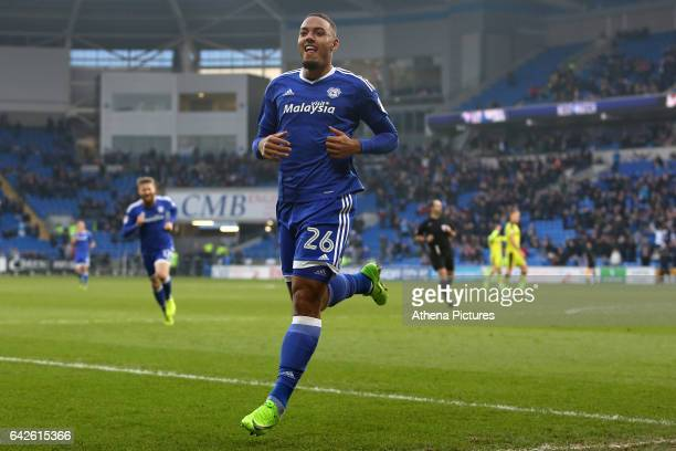 Kenneth Zohore of Cardiff City celebrates scoring his sides fifth goal of the match during the Sky Bet Championship match between Cardiff City and...