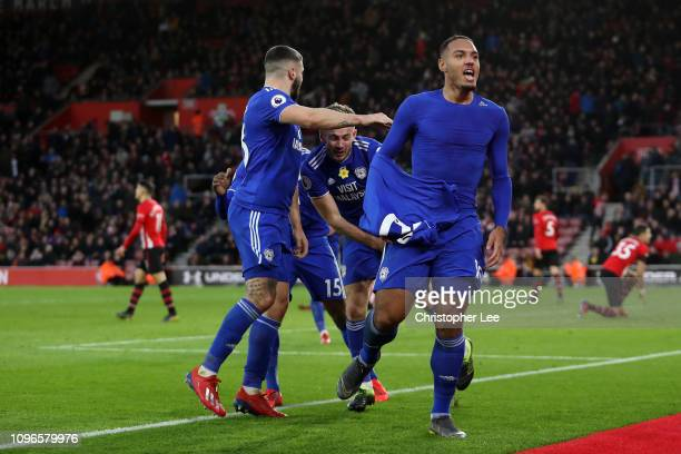 Kenneth Zohore of Cardiff City celebrates with teammates after scoring his team's second goal during the Premier League match between Southampton FC...