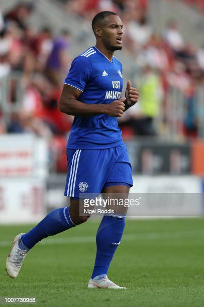 Kenneth Zohore of Cardiff City challenges xxx of Rotherham United during the at PreSeason Friendly match between Rotherham United and Cardiff City at...