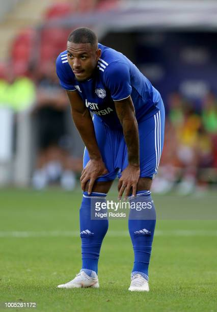 Kenneth Zohore of Cardiff City during the at PreSeason Friendly match between Rotherham United and Cardiff City at The New York Stadium on July 25...
