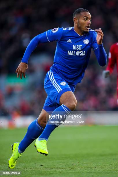 Kenneth Zohore of Cardiff City during the Premier League match between Liverpool FC and Cardiff City at Anfield on October 27 2018 in Liverpool...