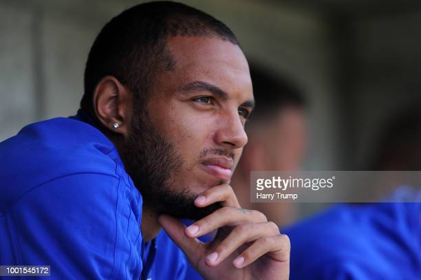 Kenneth Zohore of Cardiff City during the PreSeason Friendly match between Bodmin Town and Cardiff City at Priory Park on July 18 2018 in Bodmin...